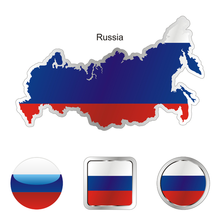 fully editable flag of russia in map and internet buttons shape
