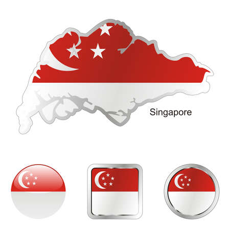 fully editable flag of singapore in map and internet buttons shape  Stock Photo - 6255810