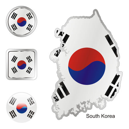 fully editable flag of south korea in map and internet buttons shape  Vector