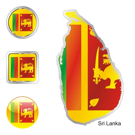 lanka: fully editable flag of sri lanka in map and internet buttons shape