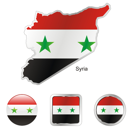 fully editable flag of syria in map and internet buttons shape  Stock Vector - 6255922