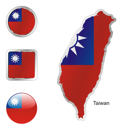 fully editable flag of taiwan in map and internet buttons shape