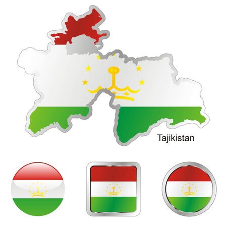 fully editable flag of tajikistan in map and internet buttons shape  Vector