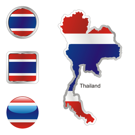 fully editable: fully editable flag of thailand in map and internet buttons shape  Illustration