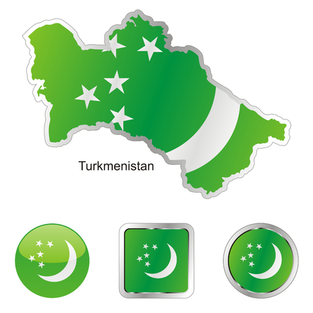 turkmenistan: fully editable flag of turkmenistan in map and internet buttons shape  Illustration