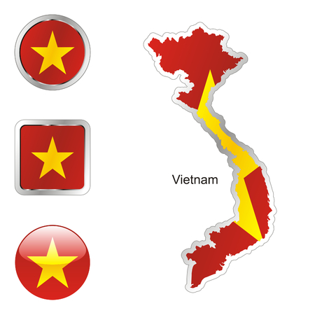 fully editable flag of vietnam in map and internet buttons shape Stock Vector - 6255660