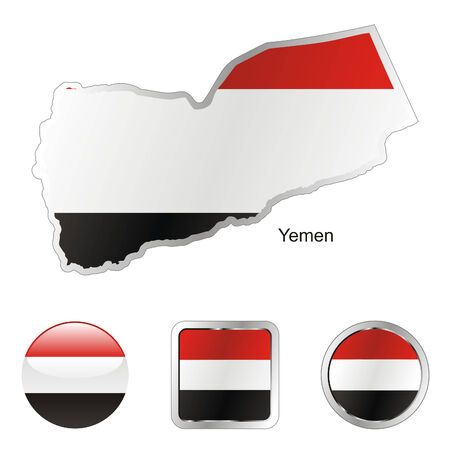 yemen: fully editable flag of yemen in map and internet buttons shape