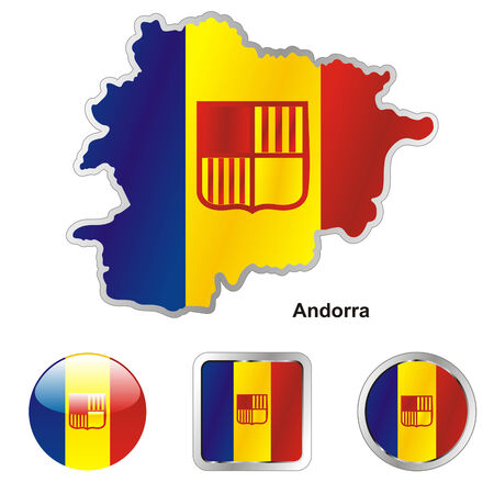 andorra: fully editable flag of andorra in map and web buttons shapes