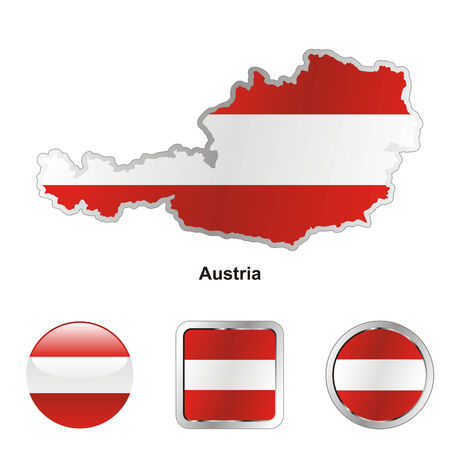 austria map: fully editable flag of austria in map and web buttons shapes