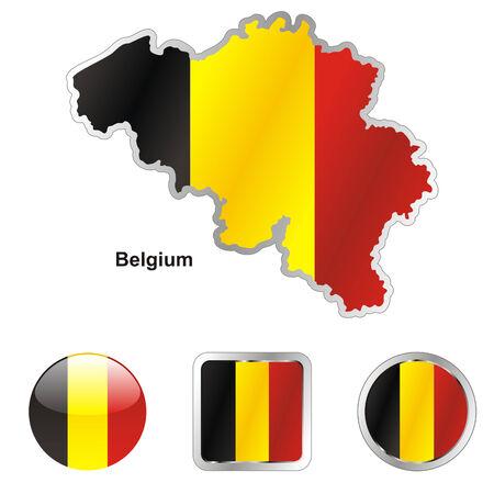 volledig bewerkbaar vlag van België in kaart en web knoppen vormen  Vector Illustratie