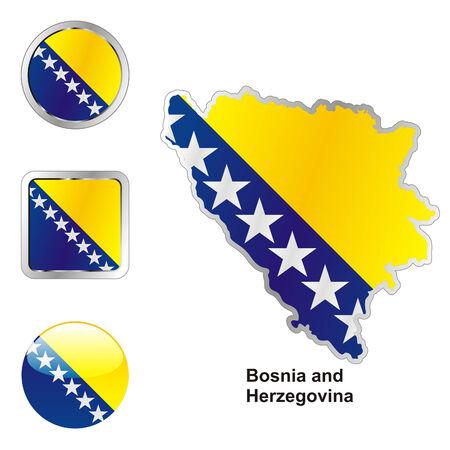 bosnia and herzegovina flag: fully editable flag of bosnia and herzegovina in map and web buttons shapes