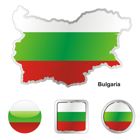 bulgaria flag: fully editable flag of bulgaria in map and web buttons shapes