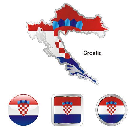 bandera croacia: las formas de botones de bandera totalmente editable de Croacia en el mapa y la web
