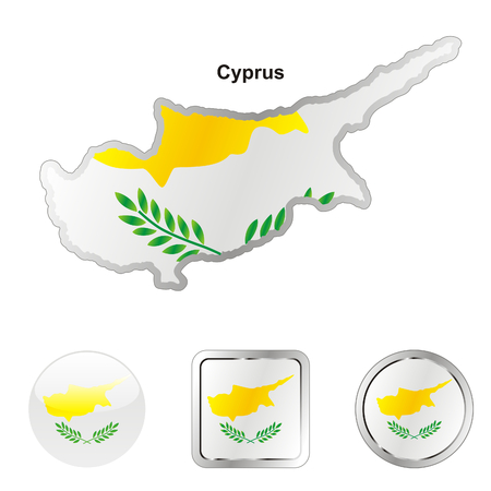 fully editable flag of cyprus in map and web buttons shapes  Vector