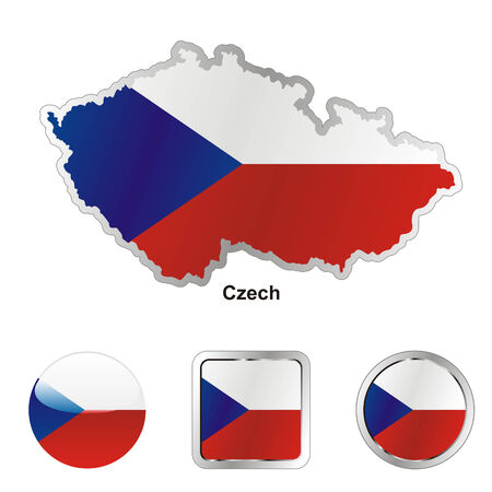 czech: fully editable flag of czech in map and web buttons shapes