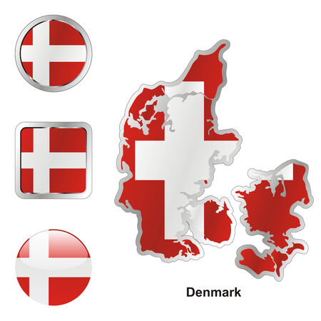 fully: fully editable flag of denmark in map and web buttons shapes