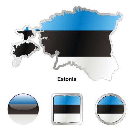 fully editable flag of estonia in map and web buttons shapes Stock Vector - 6255918
