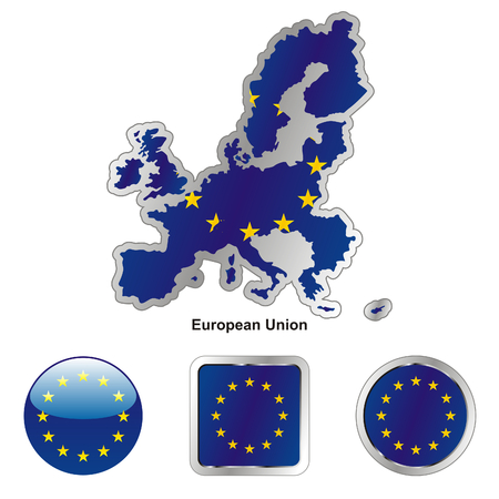 fully: fully editable flag of european union in map and web buttons shapes
