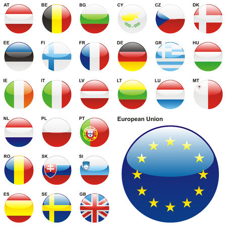 fully editable illustration of all twenty seven Member States of the European Union in web button shape