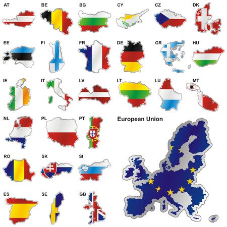 volledig bewerkbare illustratie van alle zevenentwintig lid staten van de Europese Unie in kaart vorm