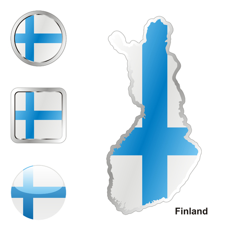 finland flag: fully editable flag of finland in map and web buttons shapes