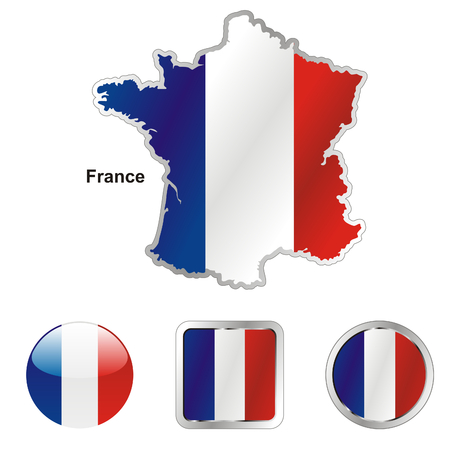 fully: fully editable flag of france in map and web buttons shapes