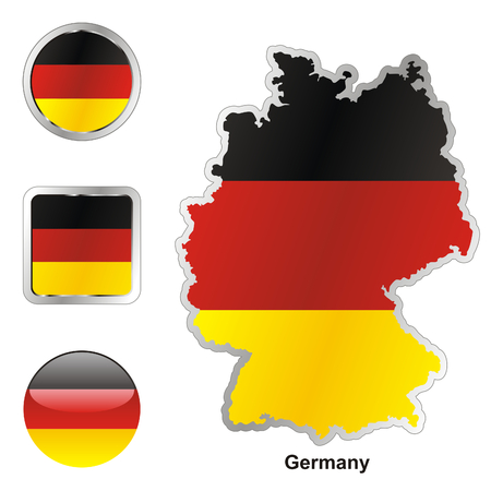 fully: fully editable flag of germany in map and web buttons shapes