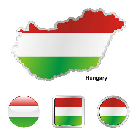 fully: fully editable flag of hungary in map and web buttons shapes