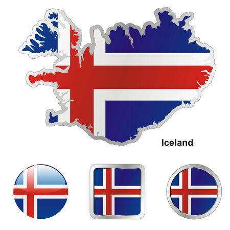 volledig bewerkbaar vlag van IJsland in kaart en web knoppen vormen