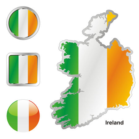 ireland flag: fully editable flag of ireland in map and web buttons shapes