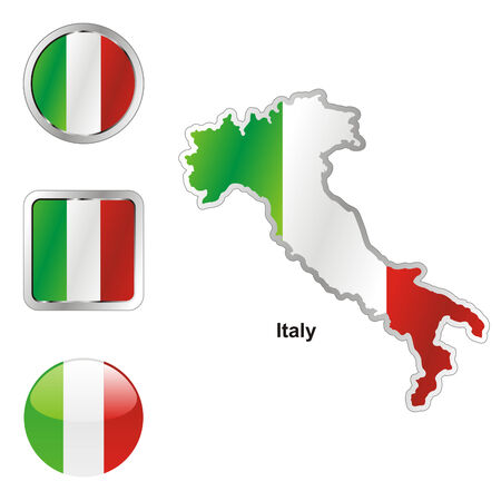 italy map: fully editable flag of italy in map and web buttons shapes