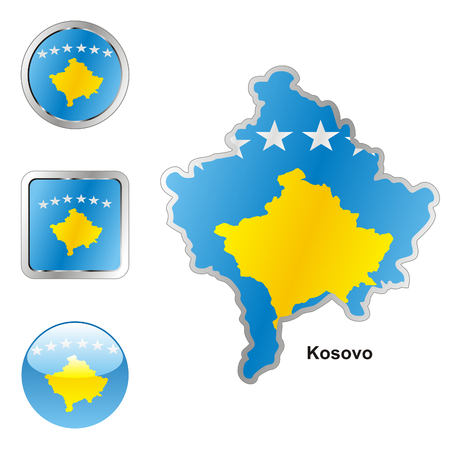 fully editable flag of kosovo in map and web buttons shapes  Vector
