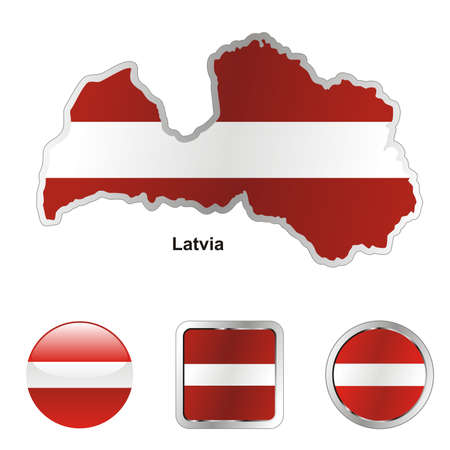 fully editable flag of latvia in map and web buttons shapes  Stock Vector - 6255803