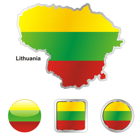 fully editable flag of lithuania in map and web buttons shapes Stock Vector - 6255935