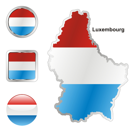fully: fully editable flag of luxembourg in map and web buttons shapes
