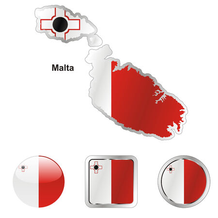 fully editable: fully editable flag of malta in map and web buttons shapes