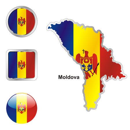 las formas de botones de bandera totalmente editable de Moldavia en el mapa y la web