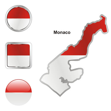 monaco: fully editable flag of monaco in map and web buttons shapes