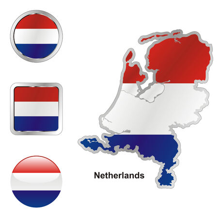 netherlands: fully editable flag of netherlands in map and web buttons shapes  Illustration