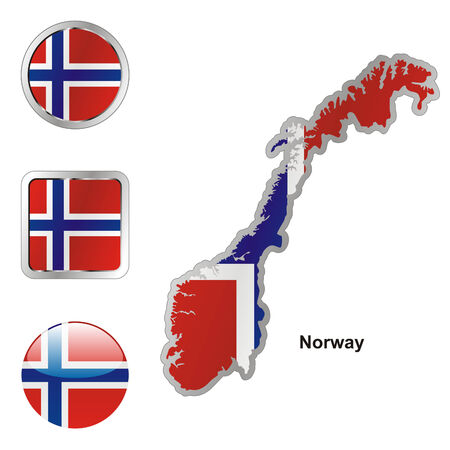 norway flag: fully editable flag of norway in map and web buttons shapes