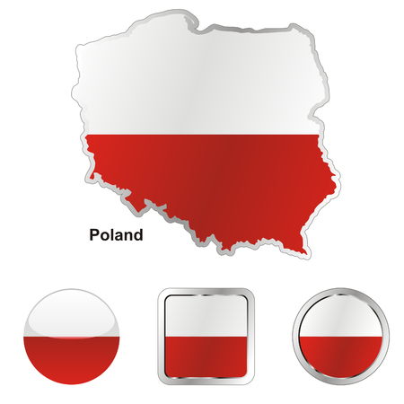 european maps: fully editable flag of poland in map and web buttons shapes