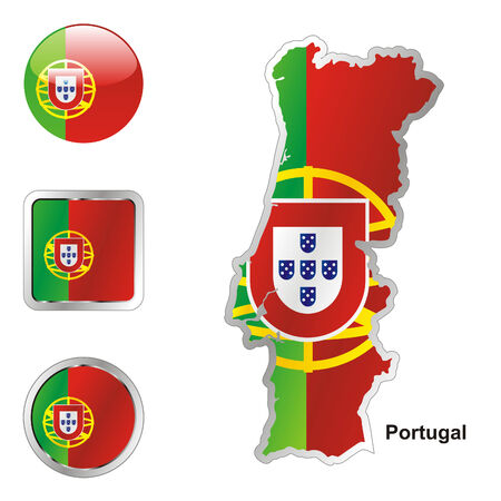 fully: fully editable flag of portugal in map and web buttons shapes  Illustration