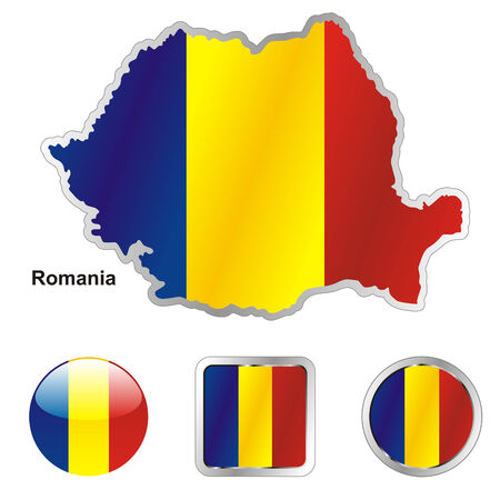 fully editable flag of romania in map and web buttons shapes  Vector