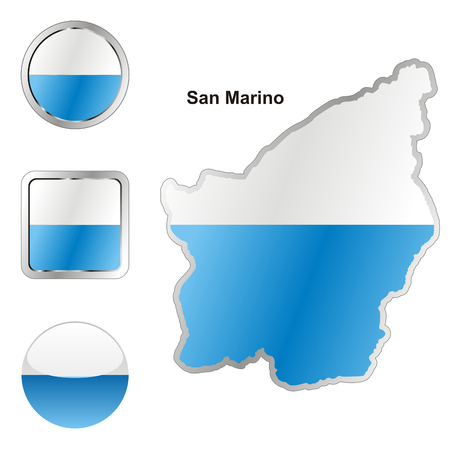 fully editable flag of san marino in map and web buttons shapes Stock Vector - 6255930