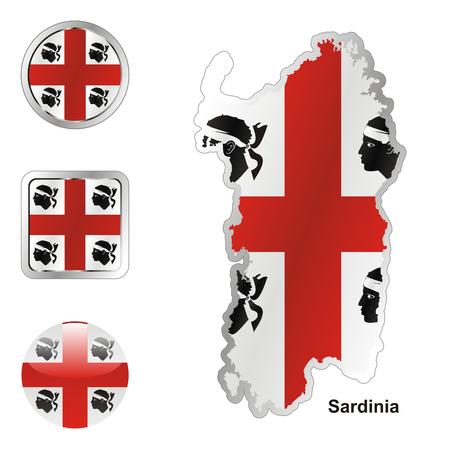 sardaigne: drapeau enti�rement modifiable de Sardaigne en carte et web des boutons de formes