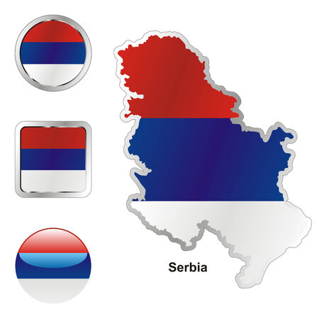 serbia flag: fully editable flag of serbia in map and web buttons shapes