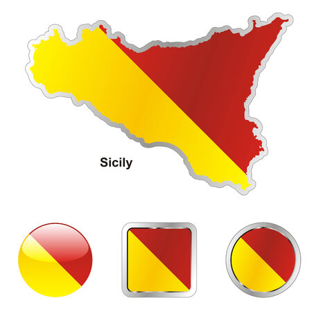 fully editable flag of sicily in map and web buttons shapes