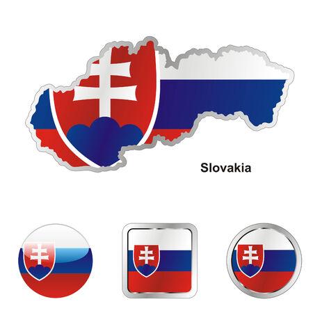 las formas de botones de bandera totalmente editable de Eslovaquia en el mapa y la web  Ilustración de vector