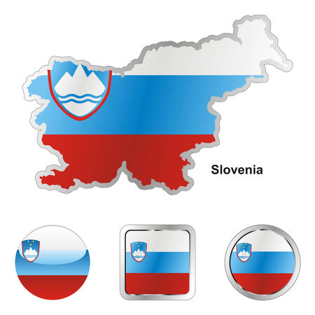 slovenia: fully editable flag of slovenia in map and web buttons shapes