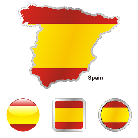 fully editable flag of spain in map and web buttons shapes  Vector